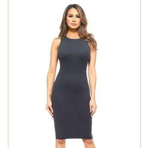 Dresses & Skirts - Charcoal Gray Midi Form Fitting Dress